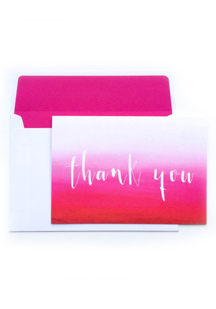 Hot Pink Ombre Thank You Card