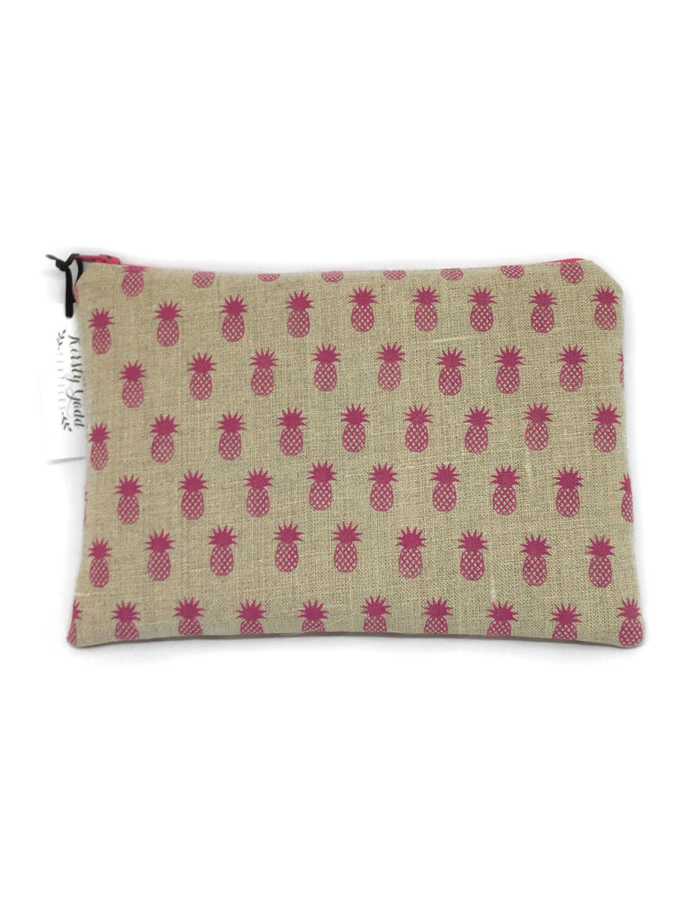 Kirsty Gadd Textiles Hot Pink Hand Printed Pineapple Linen and Silk Purse
