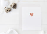 Kirsty Gadd Textiles Handprinted Heart Foil Valentines anniversary Wedding & Engagement Card Cotswolds