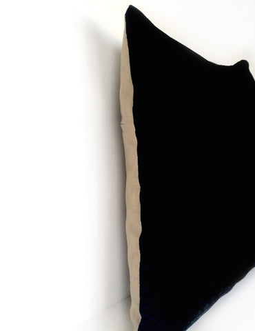 Black Hand Dyed Silk Velvet Cushion with Dark Natural Linen Back - 40 x 40cm