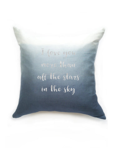 Blue Ombre Silk & Natural Linen Luxurious Handmade Square Cushion with Silver Letters -Various Sizes