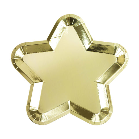 Gold Foiled Paper Star Plate - 12 Pack