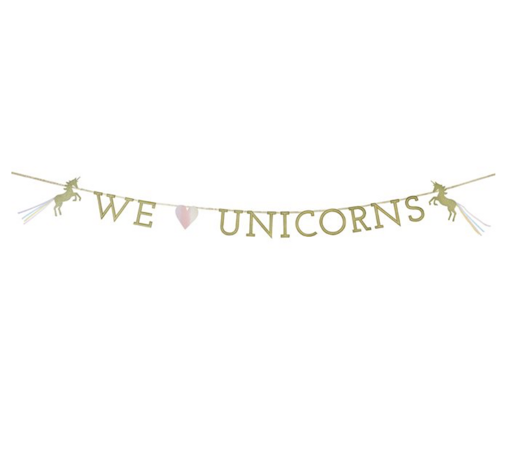 We Love Unicorns Gold Glitter Garland Bunting - 3m -  Unicorn Party, Magical Wedding, Hen Party, Anniversary, Engagement, Party Celebration
