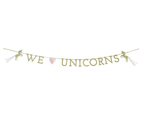 We Love Unicorns Gold Glitter Garland Bunting - 3m