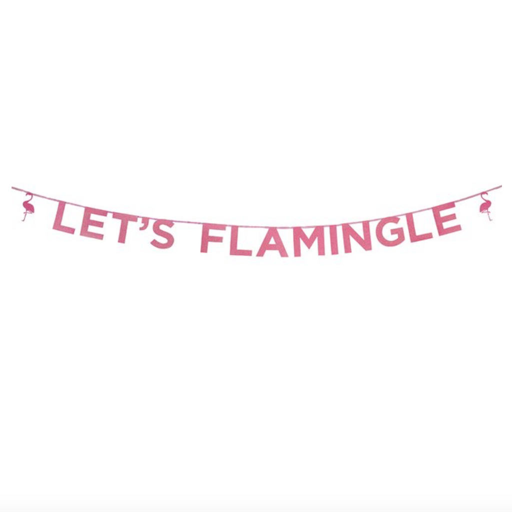 Let's Flamingle' Glitter Banner - 3m Tropical Party | Summer Celebration | Flamingo Decoration | Flamingo Party Ideas | Mingo | Tiki | Luau