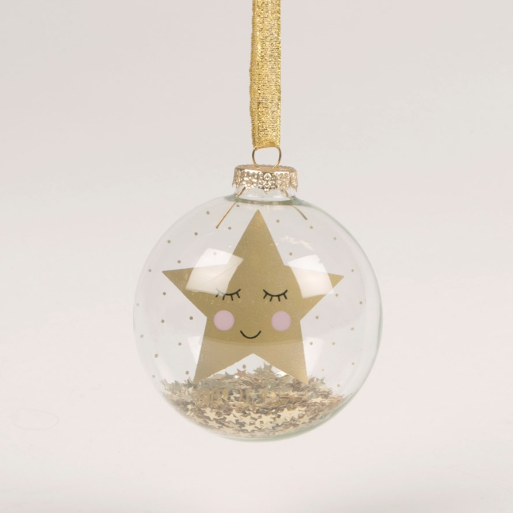 NEW IN! A Star is Born Shining Gold Star Bauble First Christmas - New Baby