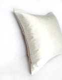 Ivory Silk & Natural Linen Handmade Square Cushion - Various Sizes