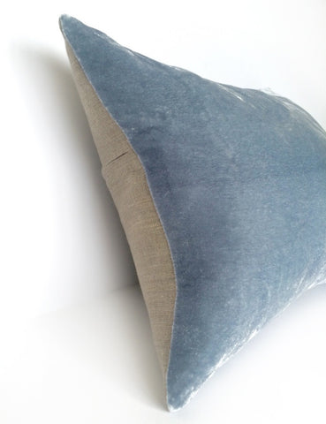 Light Blue Hand Dyed Silk Velvet Cushion with Dark Natural Linen Back - Various Sizes