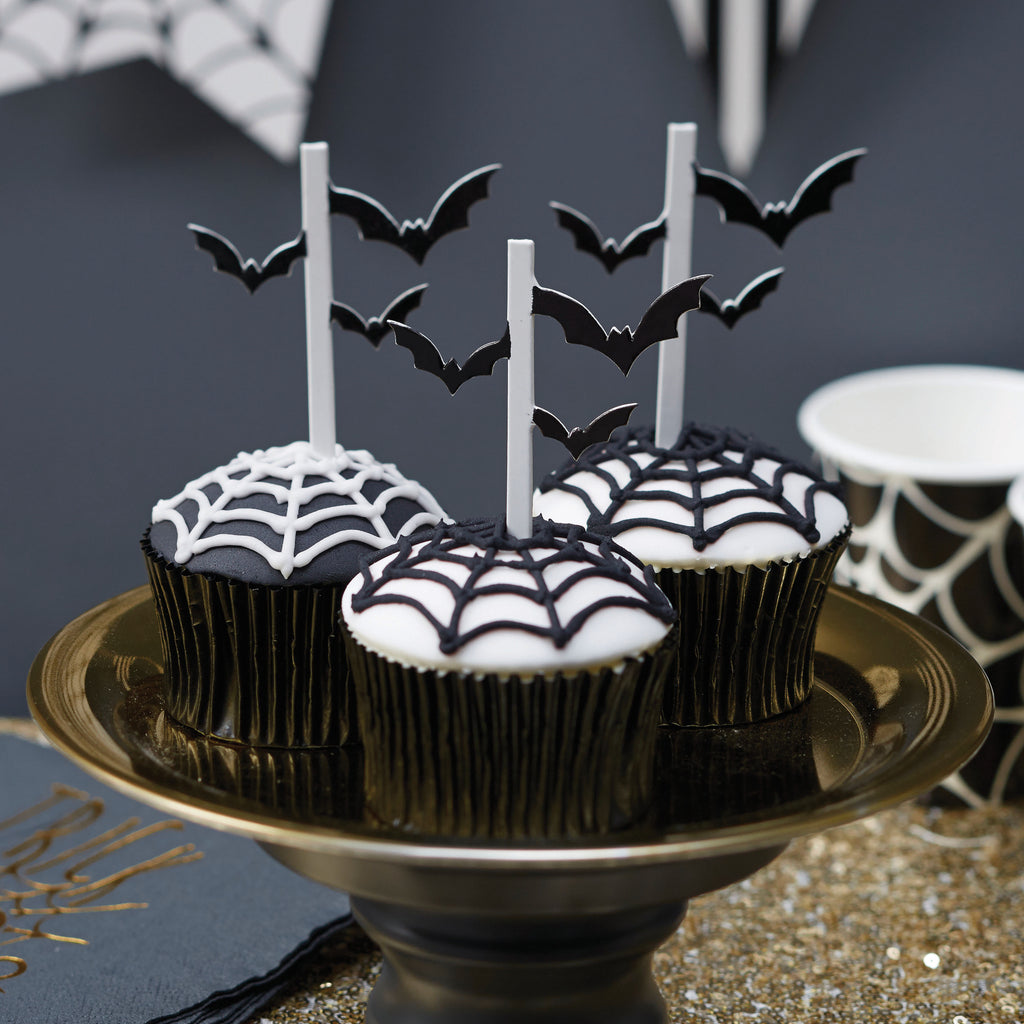 Halloween Bat Cupcake Toppers - 10 Pack - Trick Or Treat Halloween Prop	Halloween Party	Spider Decoration	Jack O Lantern Prop	Scary Ghost Prop	Spooky Bunting	Halloween Decor	Halloween Sign	Spooky Backdrop	Halloween Wall cover	Cobweb Prop	Trick or Treat Prop	Bat Decoration