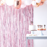 Matte Pink Foil Fringe Curtain Decoration