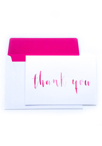 Thank You Card - Hot Pink Watercolour