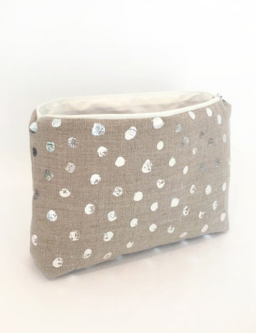 Linen Zip Pouch with Handprinted Silver Polka Dots