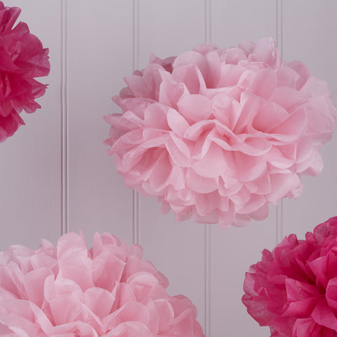 Baby Pink & Hot Pink Tissue Paper Pom Poms - 5 Pack