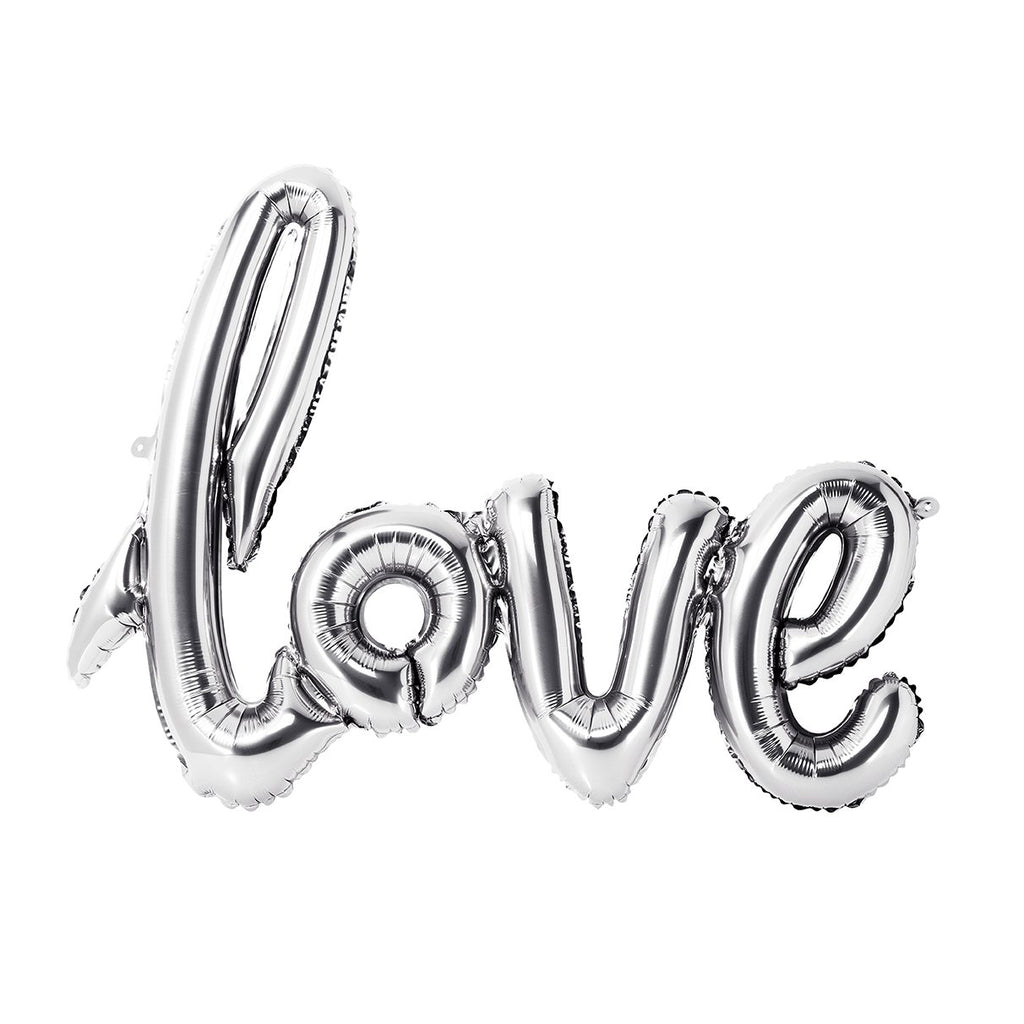 Silver Love Balloon Bunting - 75cm x 55cm - NO HELIUM NEEDED