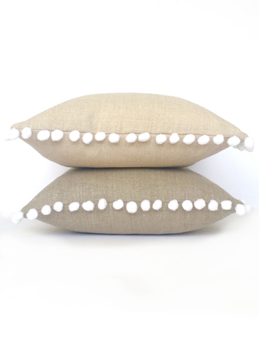Natural Linen & Soft White Pom Pom Bobble Trim Cushion - Various Sizes - MADE TO ORDER