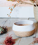 White Rope & Seagrass Storage Basket