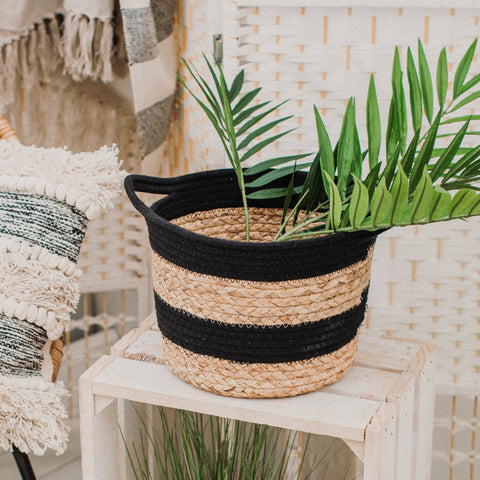NEW IN! Black Rope & Seagrass Storage Basket
