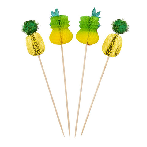 Pineapple Pom pom Picks - 12 Pack - Cupcake Toppers, Drink Stirrers, Food Picks