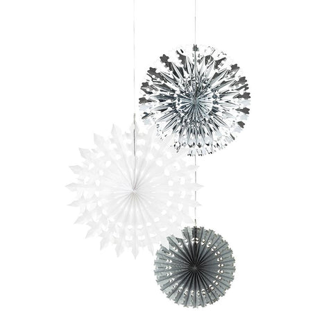 Fan Snowflake Hanging Decorations - 3 pack