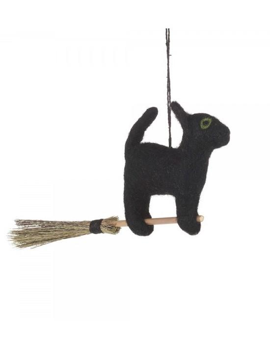 NEW IN! Felt Flying Black Cat