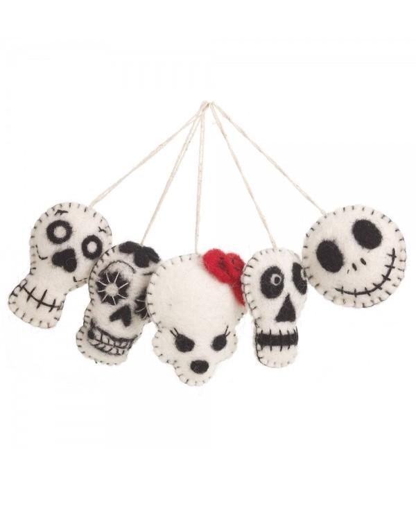 NEW IN! Felt Halloween Skulls (Bag of 5)