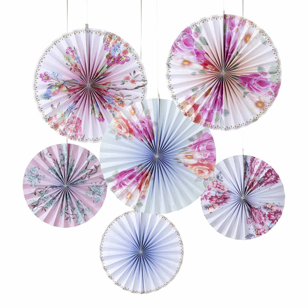 NEW IN! Floral Romantic Pinwheel Decorations - 6 Pack