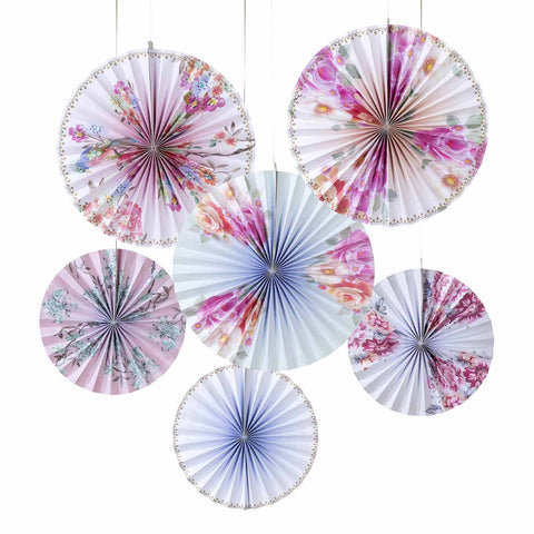Floral Romantic Pinwheel Decorations - 6 Pack