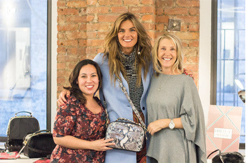 @tezzamb rocking the Taylor Crossbody in Natural Python with our co-founders April and Barbara