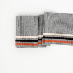 Cuffing, Stripes, thin stripes terracotta, grey melange 100cm x 8cm **Öko-Tex Standard 100**, Swafing