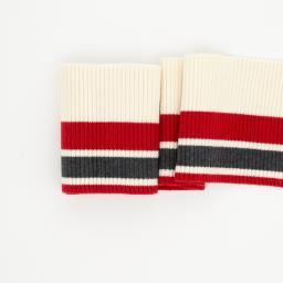 Cuffing, Stripes thick, anthracite, red, off white 100cm x 8cm **Öko-Tex Standard 100**, Swafing