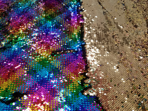 Rainbow/Gold reversible sequins