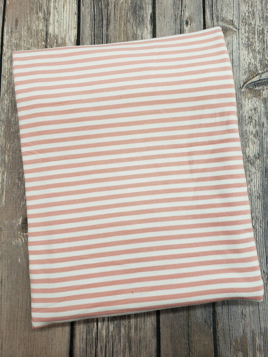 Mellow Rose/White stripe Bamboo Jersey Knit