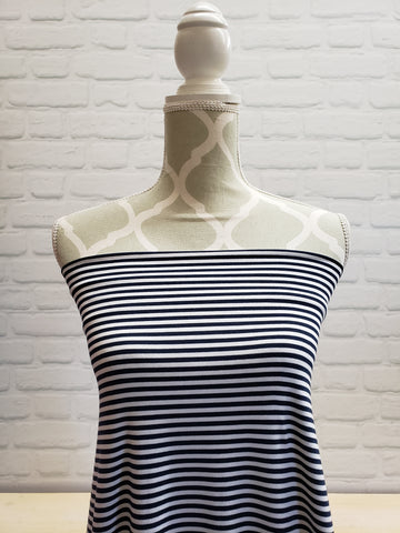 White/Navy stripe Bamboo Jersey Knit