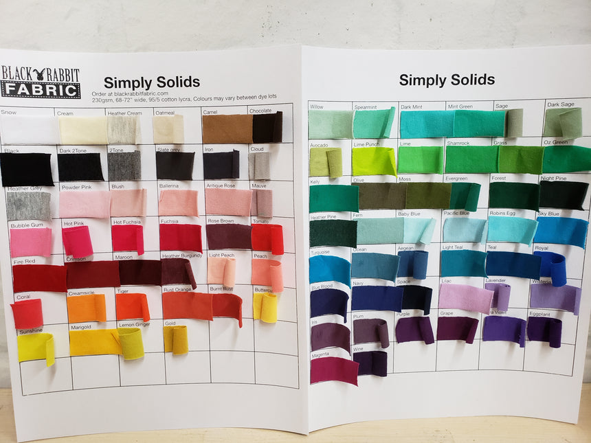 simply Solids CL Colour Card