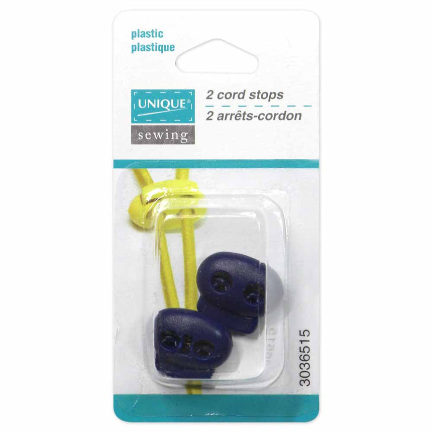 UNIQUE SEWING 2 Hole Cord Stops - Navy Blue - 2 pcs