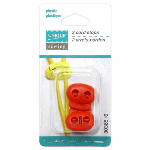 UNIQUE SEWING 2 Hole Cord Stops - Red - 2 pcs