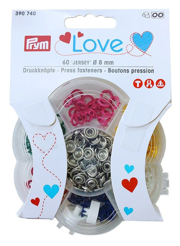 Prym Love Jersey Press Fasteners, 60pc. x 8mm, Multi-Colour (6 Colours!)