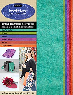 "KRAFT-TEX 6-COLOR SAMPLER PACK (Kraft Paper Fabric - Tough, Touchable New Paper), 6 Sheets, 8.5"" x  11"""