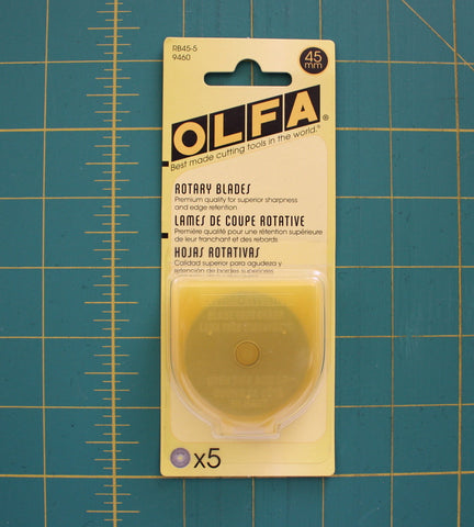 Olfa Replacement Blades For Rty2/G 45mm, 5 Count - Black Rabbit Fabric