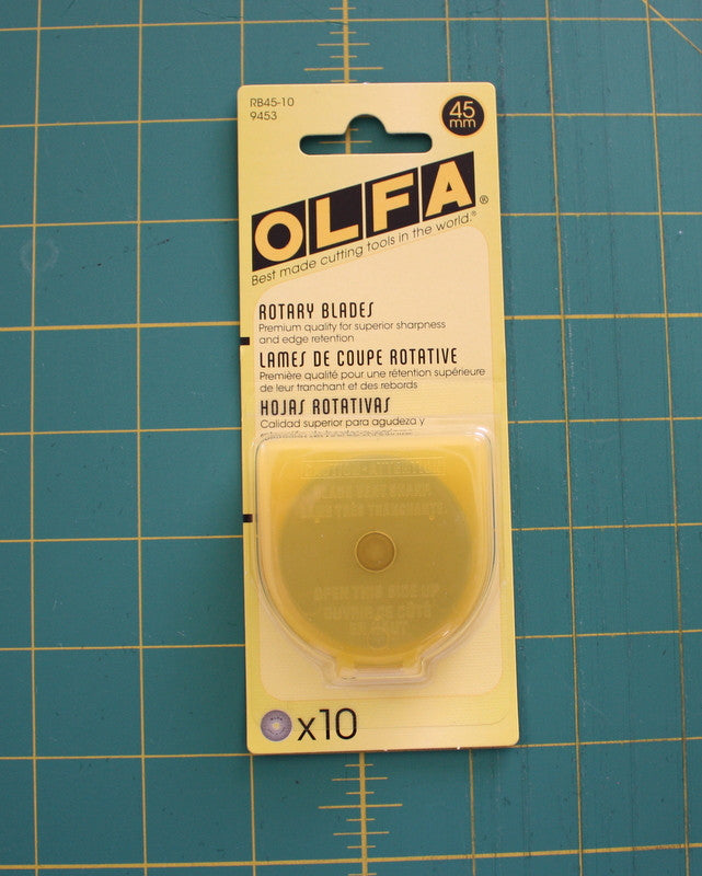 Olfa Replacement Blades For Rty2/G 45mm, 10 Count - Black Rabbit Fabric