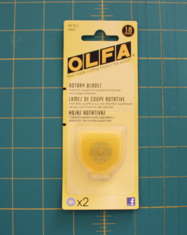 Olfa Replacement Blades For RTY4, 18mm 2 Count - Black Rabbit Fabric