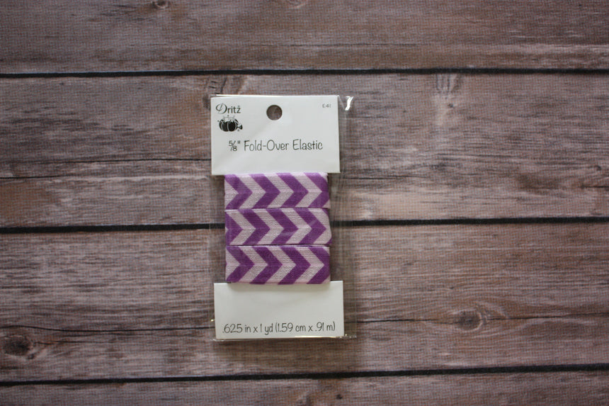 "5/8"" Fold-Over Elastic, 1 Yard, Chevron Purple - Black Rabbit Fabric"