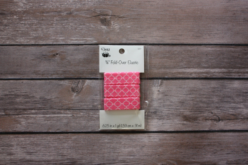 "5/8"" Fold-Over Elastic, 1 Yard, Quatrefoil Pink - Black Rabbit Fabric"