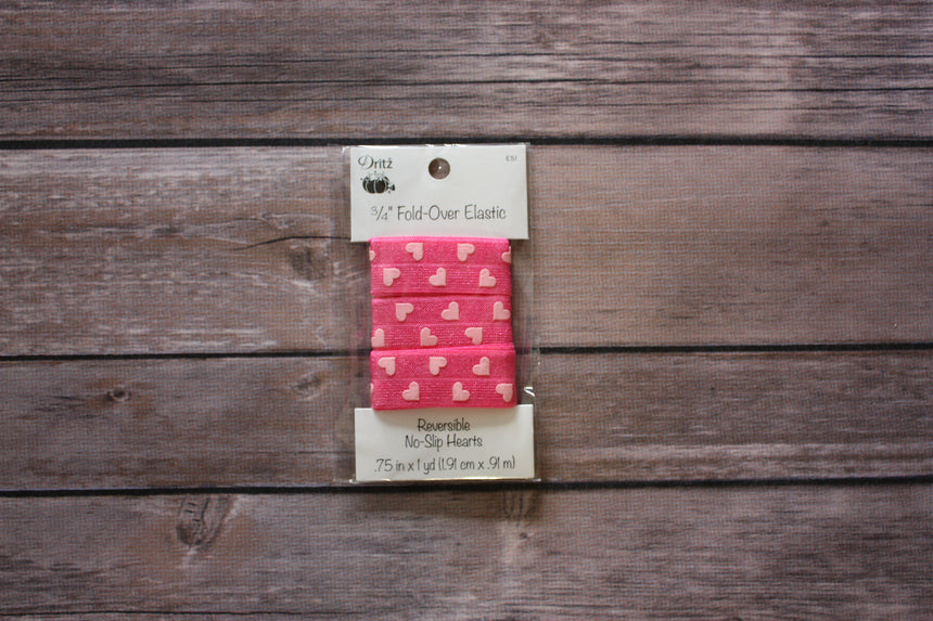 "3/4"" Stylish Fold-Over Elastic, 1 Yard, Reversible No-Slip Pink Hearts - Black Rabbit Fabric"