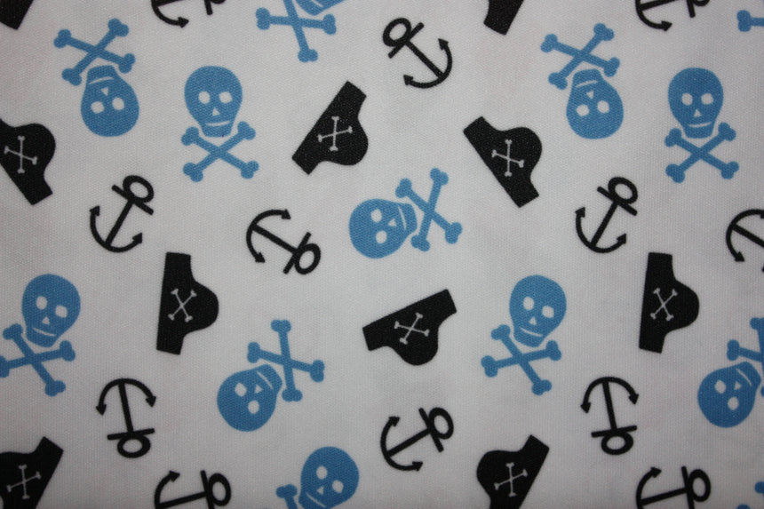 Babyville PUL Fabric Skulls and Anchors - Black Rabbit Fabric