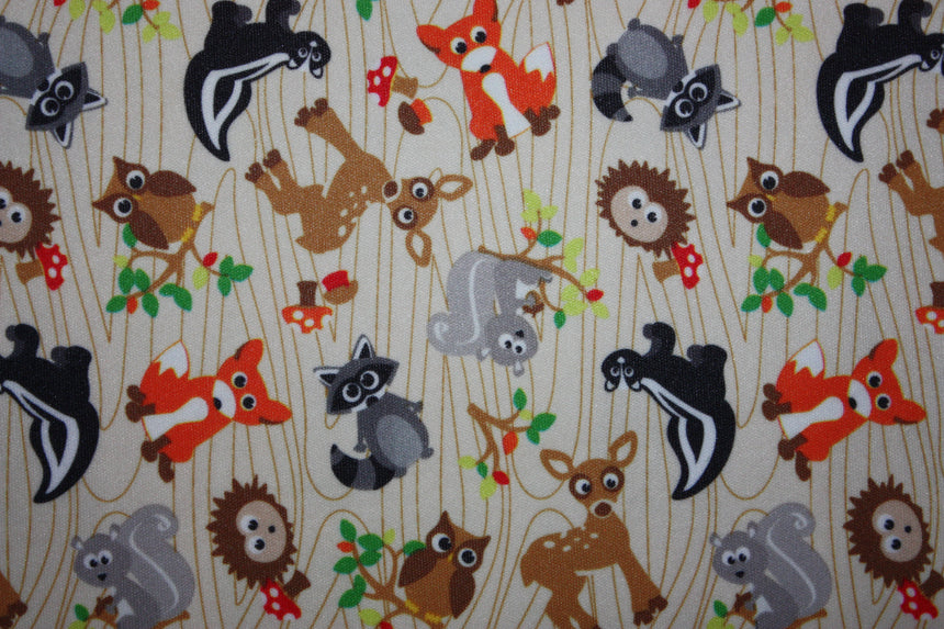Babyville PUL Forest Friends - Black Rabbit Fabric