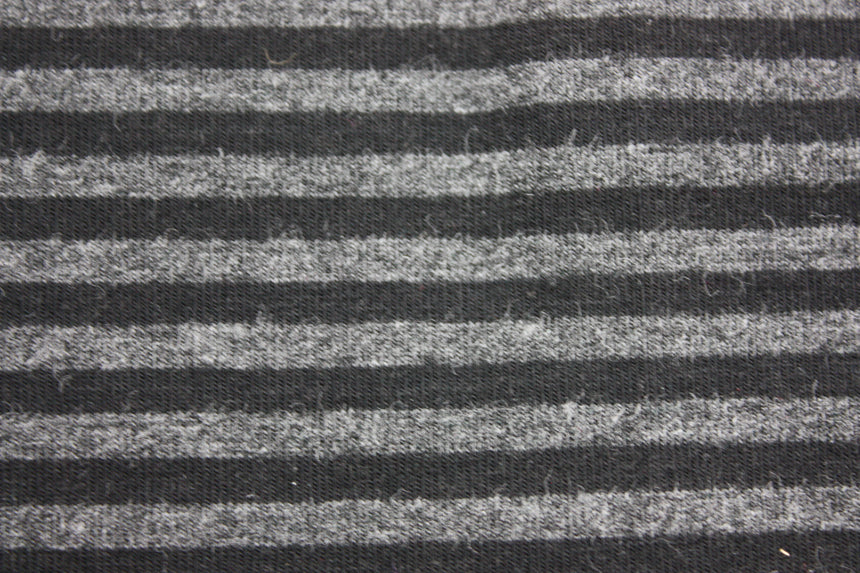 Black & 2T Charcoal stripe Bamboo Jersey Knit - Black Rabbit Fabric