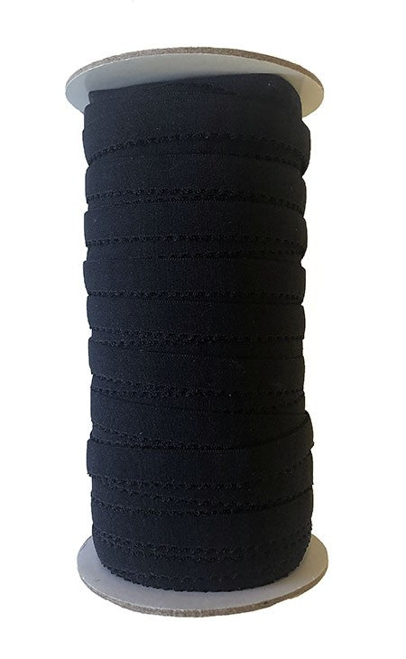 Fold Over Picot Edge Elastic - 12mm Black