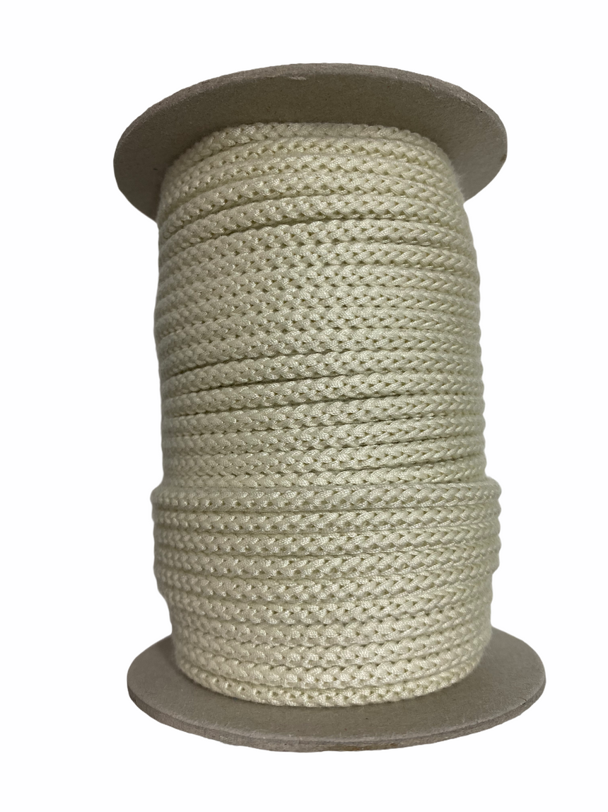 Braided Cord 5mm - Ivory - Full Roll