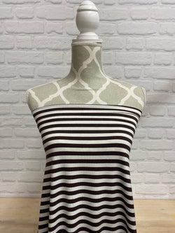 "3/8"" Brown & White stripe Bamboo Jersey Knit"